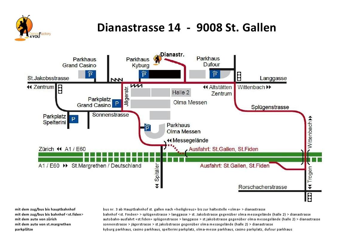 Weganleitung Dianastrasse 14 St. Gallen